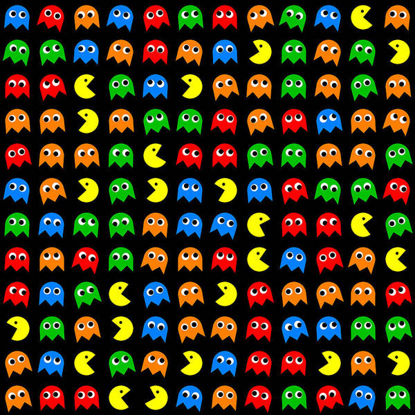 Wall Art - Digital Art - Pacman Seamless Generated Pattern by Miroslav Nemecek