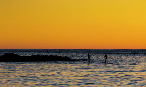 Photograph - Paddleboarding  - Mackinzie Beach Yellow Sunset by Mark Kiver