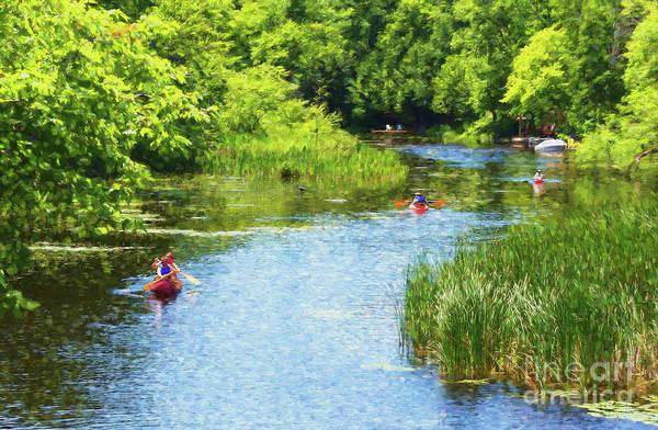 Photograph - Paddling On A Calm Creek by Les Palenik