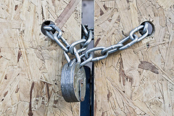Chain Link Photograph - Padlock And Chain by Tom Gowanlock
