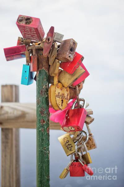 Chain Link Photograph - Padlocks Love by Patricia Hofmeester