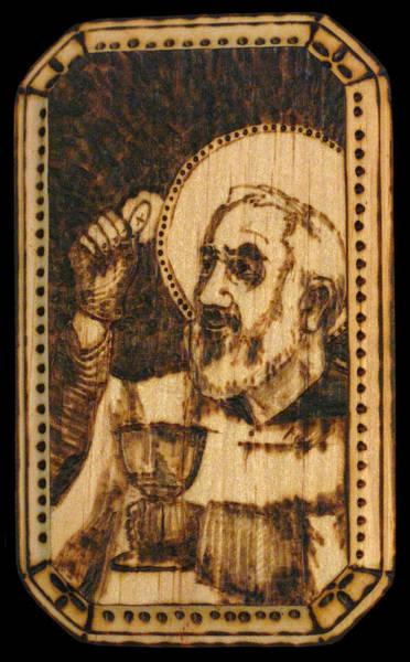 Padre Pio Wall Art - Pyrography - Padre Pio Pyrograph by Melissa Cavaliere