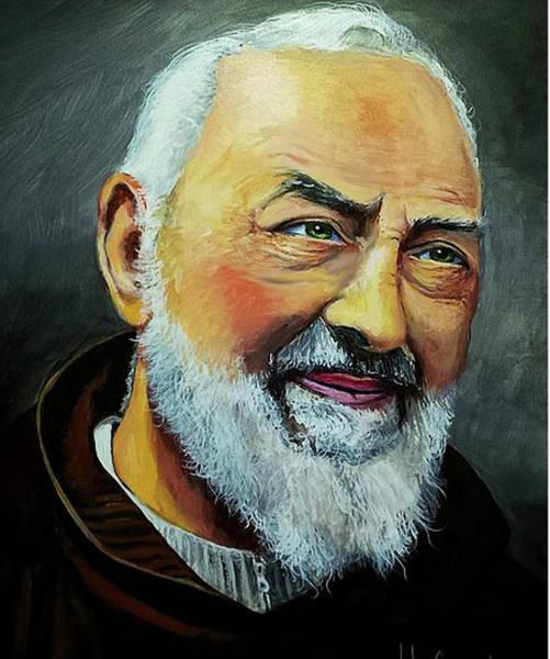 Padre Pio Wall Art - Painting - Padre Pio Smiling by John Genuard