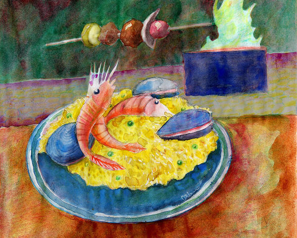 Wall Art - Painting - Paella, Shrimp, Mussels And Kabob by Miko At The Love Art Shop