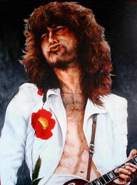 Rock And Roll Jimmy Page Wall Art - Painting - Page With Poppy by Richard Klingbeil