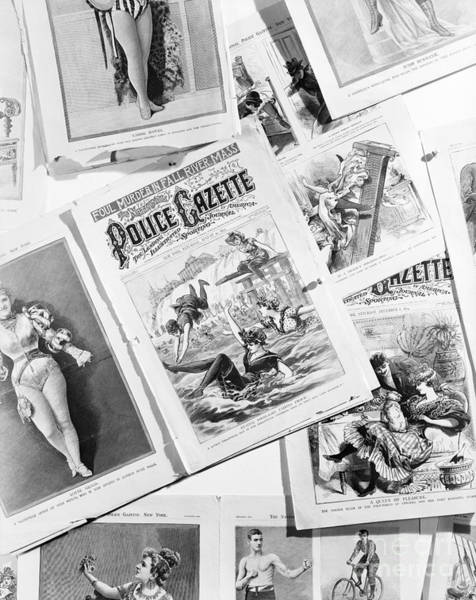 Tabloids Photograph - Pages From Police Gazette, C.1890s by H. Armstrong Roberts/ClassicStock