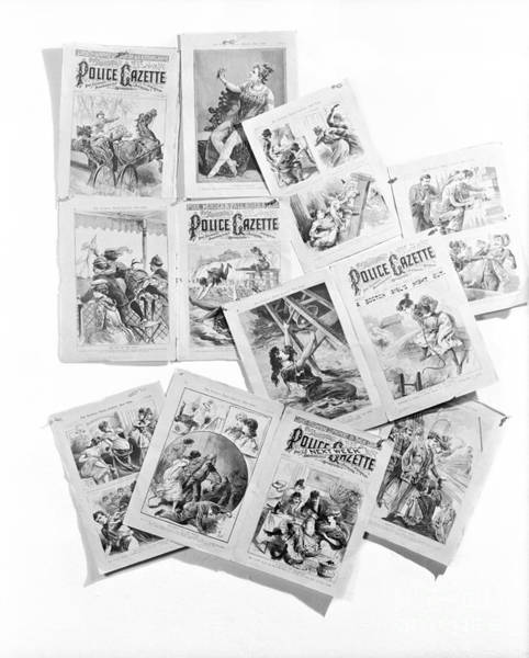 Tabloids Photograph - Pages From Police Gazette by H. Armstrong Roberts/ClassicStock