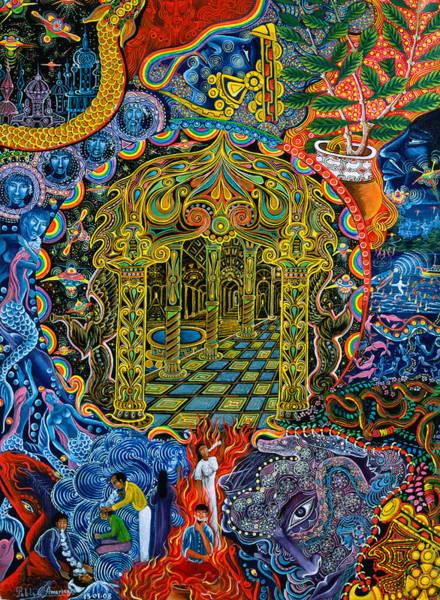 Art Print featuring the painting Pagoda Dorada by Pablo Amaringo
