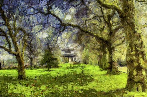 Wall Art - Mixed Media - Pagoda Impressionist Art by David Pyatt