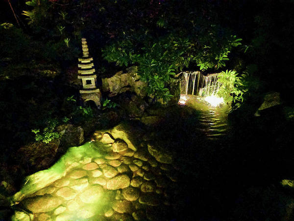 Photograph - Japanese Pagoda Waterfall At Night by Michael Bessler