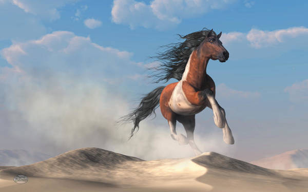 Digital Art - Paint Horse In The Desert by Daniel Eskridge