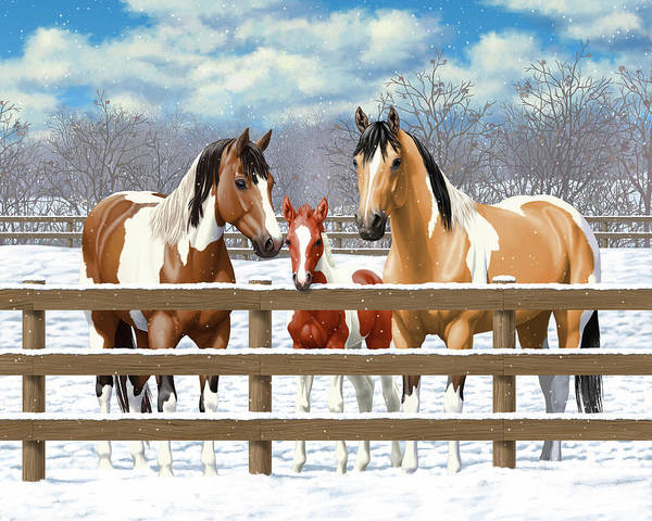 Wall Art - Painting - Paint Horses In Winter Corral by Crista Forest