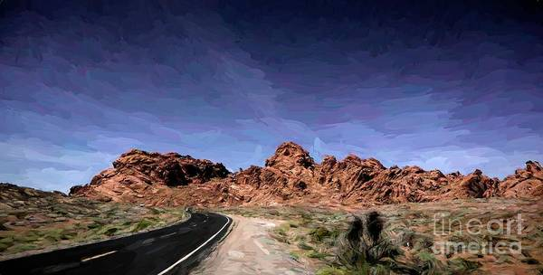 Valley Of Fire State Park Digital Art - Paint Mixed Valley Of Fire Landscape  by Chuck Kuhn