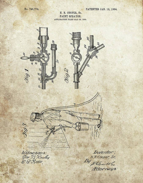 Yourself Drawing - Paint Sprayer Patent by Dan Sproul