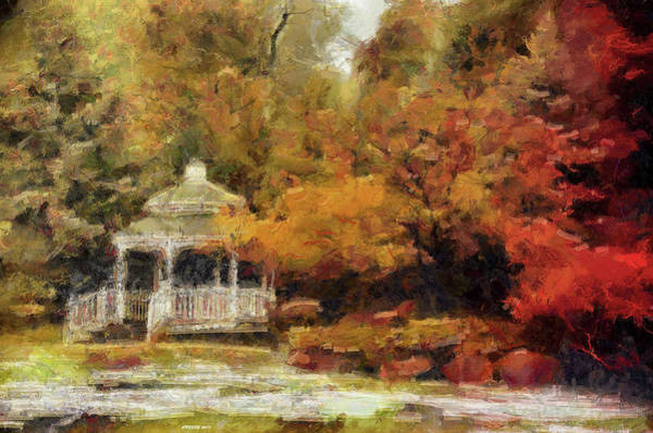 Fall Scenery Mixed Media - Painted Autumn Gazebo by Reese Lewis