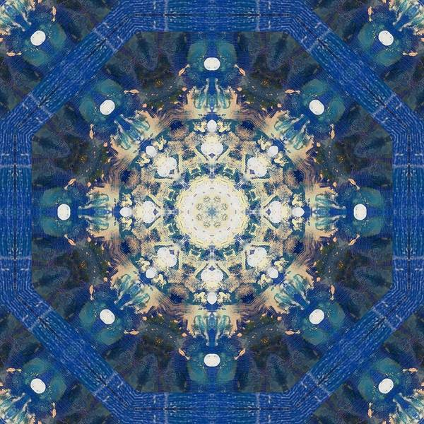 Wonderful Mixed Media - Painted Blue Mandala Flower On Canvas by Pepita Selles