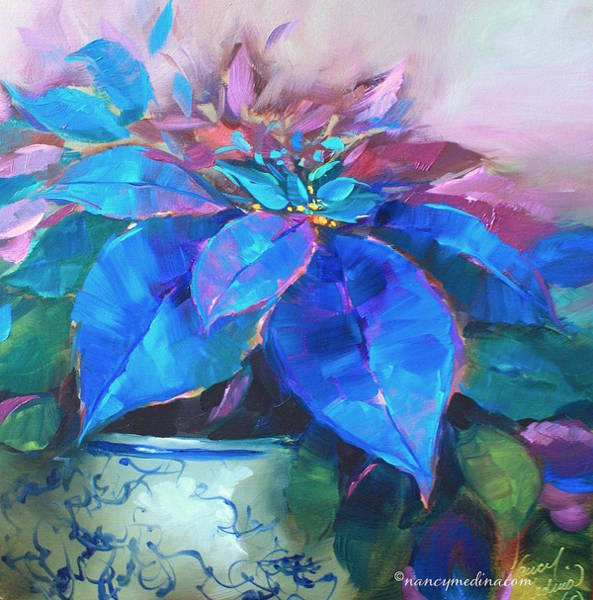 Christmas Flowers Painting - Painted Ladies Blue Poinsettias by Nancy Medina
