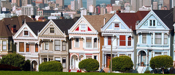 Queen Anne Style Photograph - Painted Ladies Victorians Of Alamo Square - San Francisco by Daniel Hagerman