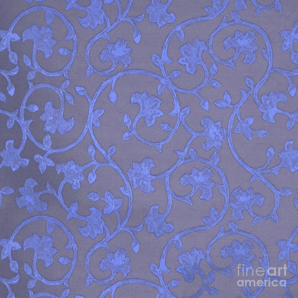 Baroque Mixed Media - Painted Periwinkle Blue Damask On Gray Linen by Tina Lavoie