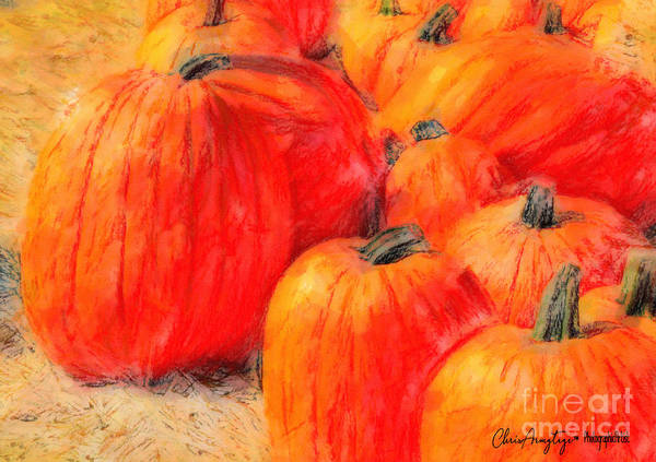 Winter Squash Painting - Painted Pumpkins by Chris Armytage