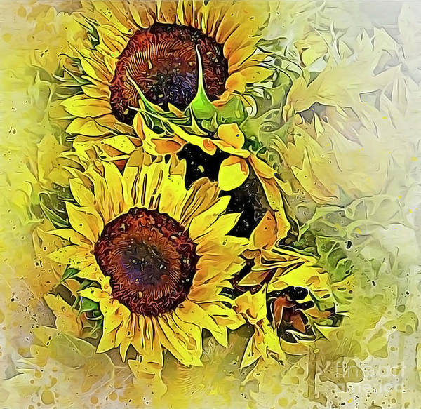 Photograph - Painted Sunflowers by Brian Tarr