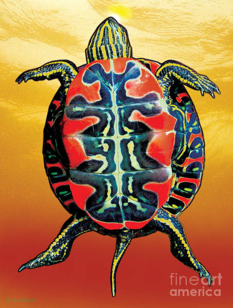 Painting - Painted Turtle Sunset Orange by JQ Licensing