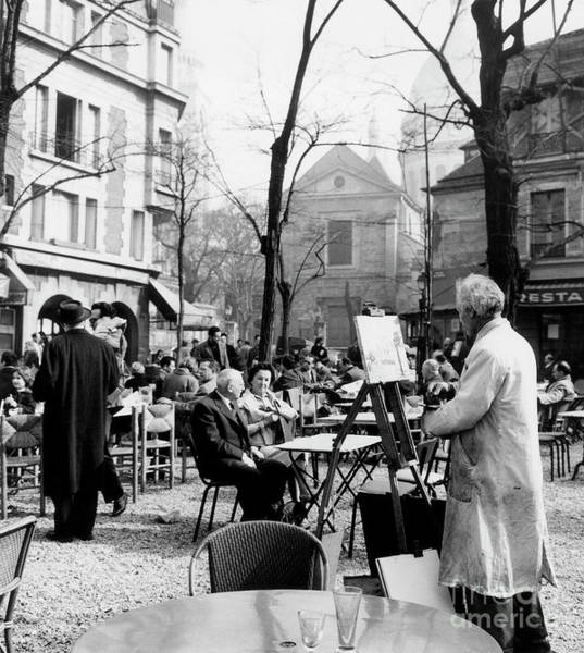 French Painter Wall Art - Photograph - Painter On The Place Du Tertre In Montmartre, Paris, 1958  by French School