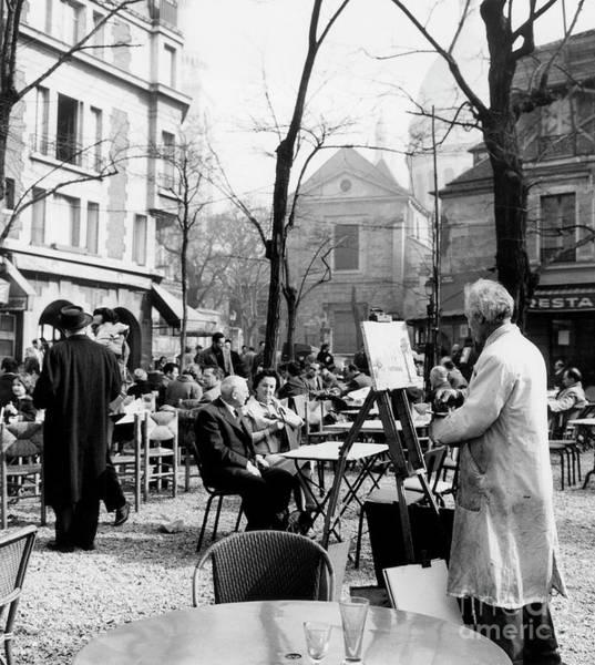 Plein Air Photograph - Painter On The Place Du Tertre In Montmartre, Paris, 1958  by French School