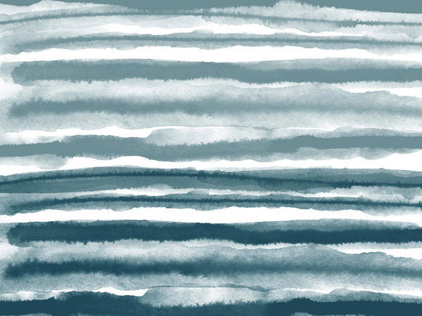 Abstract Watercolor Mixed Media - Painterly Beach Stripe 1- Art By Linda Woods by Linda Woods