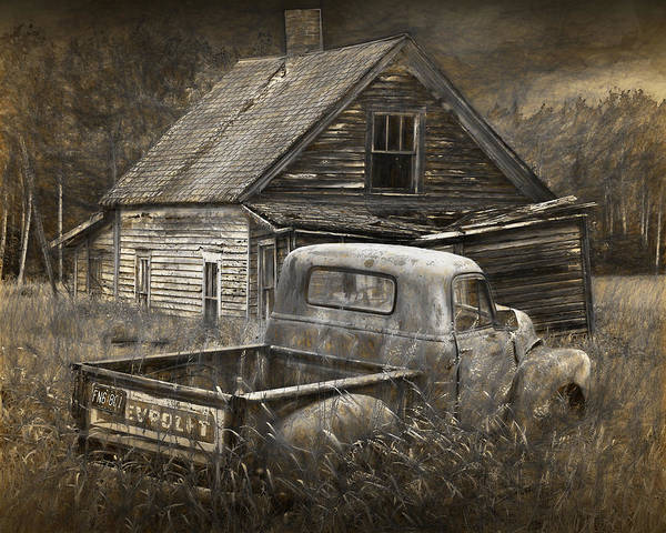 Photograph - Painterly Effects Of An Old Chevy Pickup With Abandoned Farm House by Randall Nyhof