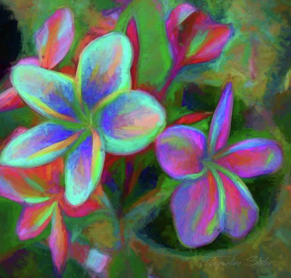 Digital Art - Painterly Frangipanis by Jacqueline Sleter