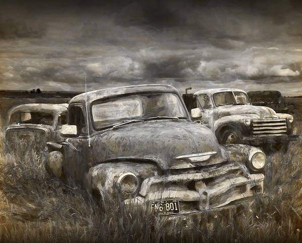 Photograph - Painterly Photograph Of A Junk Yard With Vintage Auto Bodies by Randall Nyhof