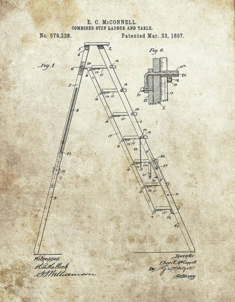 Yourself Drawing - Painter's Ladder Patent by Dan Sproul