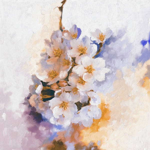 Wall Art - Painting - Painting 377 3 Cherry Blossoms by Mawra Tahreem
