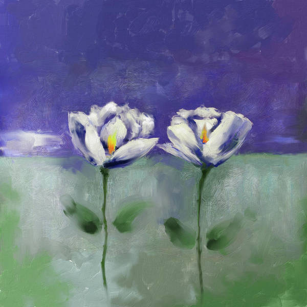 Wall Art - Painting - Painting 379 1 Twin Flowers by Mawra Tahreem