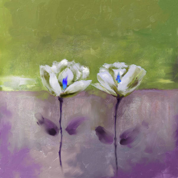 Wall Art - Painting - Painting 379 2 White Flowers by Mawra Tahreem