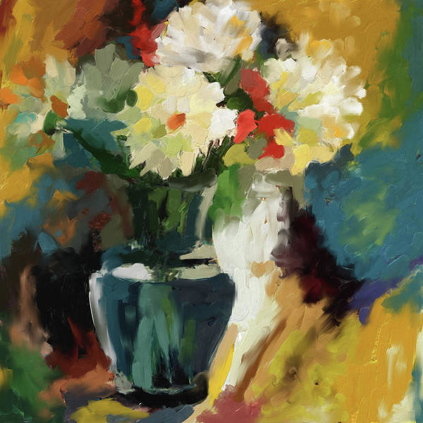 Wall Art - Painting - Painting 393 1 Flower Vase 1 by Mawra Tahreem