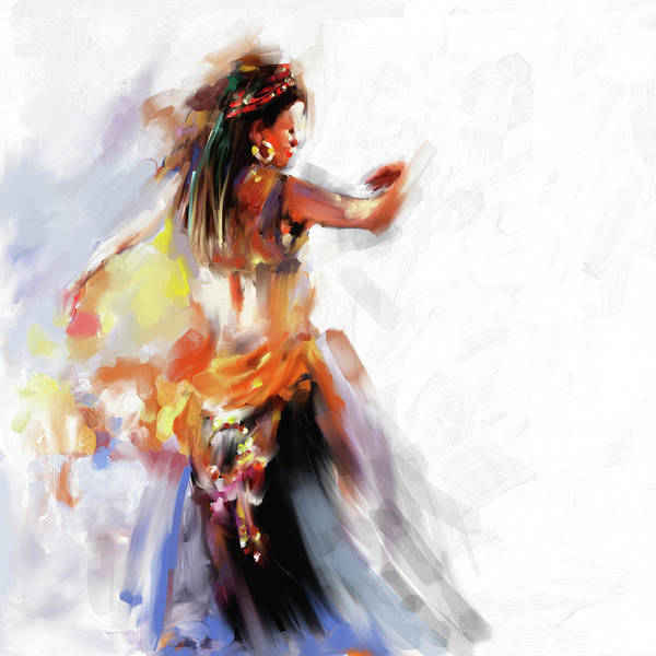 Belly Dance Painting - Painting 697 1 Dancer 2 by Mawra Tahreem