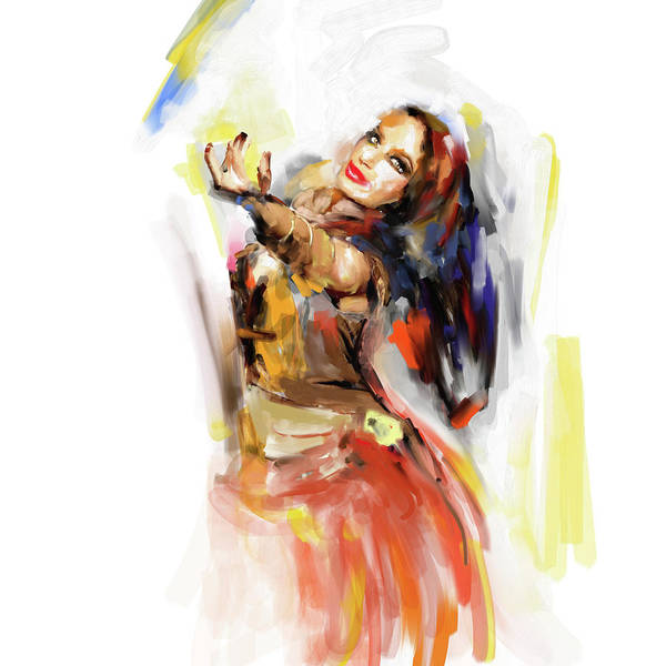 Belly Dance Painting - Painting 698 1 Dancer 3 by Mawra Tahreem