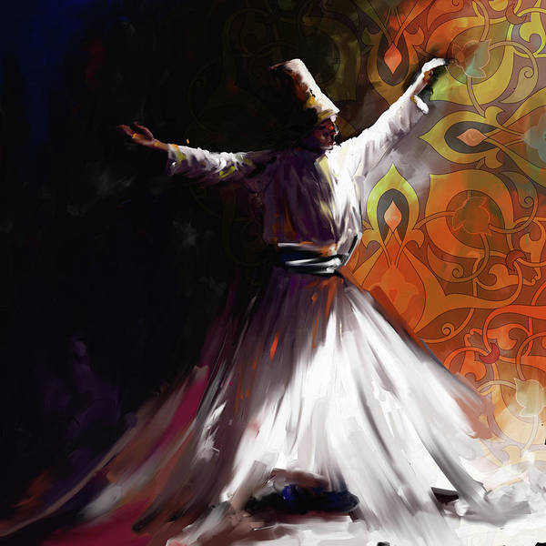 Wall Art - Painting - Painting 716 3 Sufi Whirl 2 by Mawra Tahreem