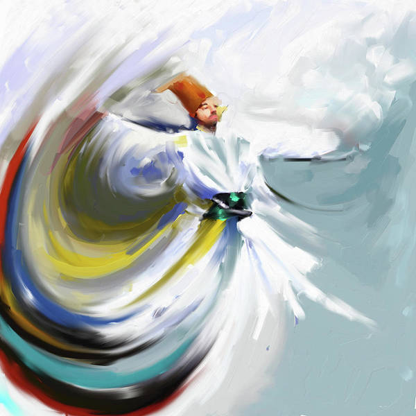 Circular Painting - Painting 719 1 Sufi Whirl 5 by Mawra Tahreem