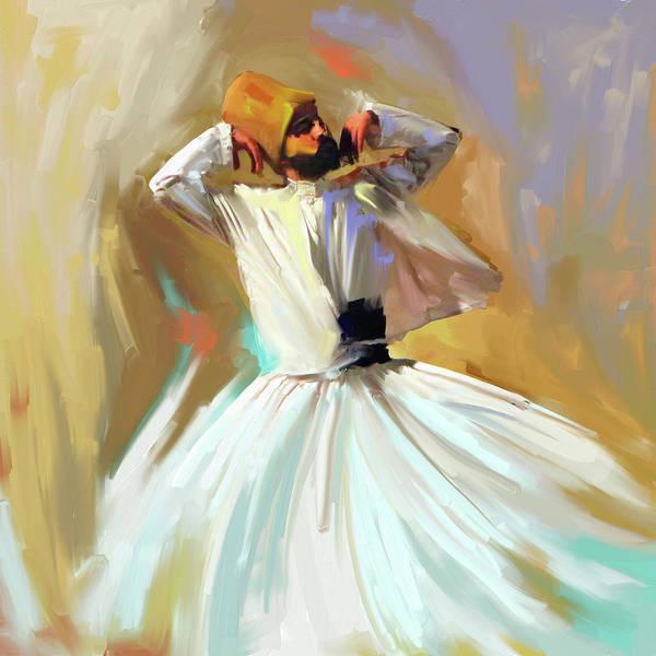 Circular Painting - Painting 729 1 Sufi Whirl 16 by Mawra Tahreem