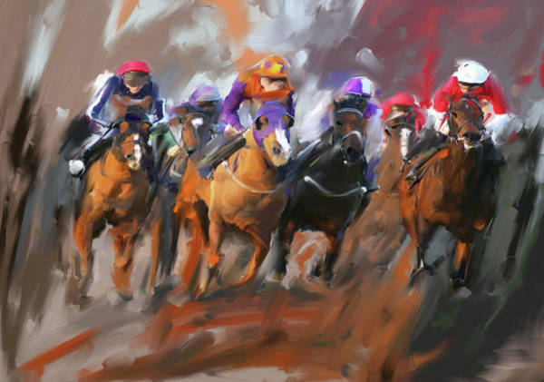 Wall Art - Painting - Painting 748 3 Horse Race 15 by Mawra Tahreem