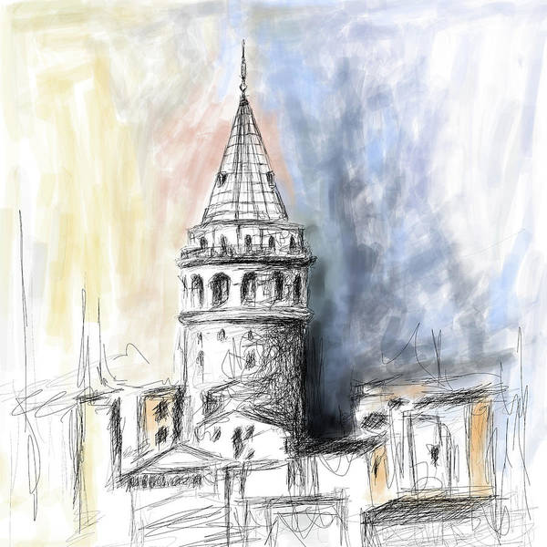 Istanbul Painting - Painting 762 1 Galata Tower by Mawra Tahreem