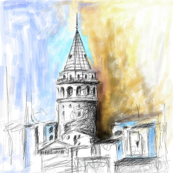Istanbul Painting - Painting 762 2 Galata Tower by Mawra Tahreem
