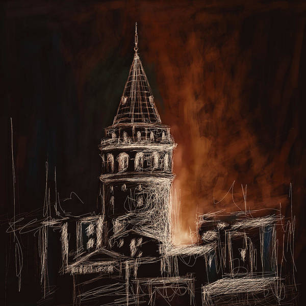 Istanbul Painting - Painting 762 4 Galata Tower by Mawra Tahreem