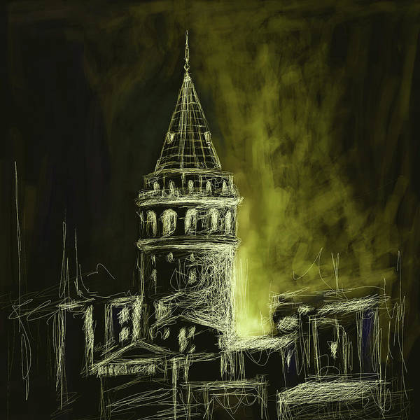 Wall Art - Painting - Painting 762 5 Galata Tower by Mawra Tahreem