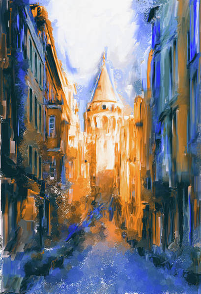 Istanbul Painting - Painting 764 4 Galata Tower by Mawra Tahreem