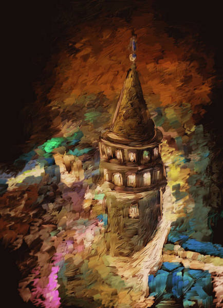 Istanbul Painting - Painting 765 2 Galata Tower by Mawra Tahreem