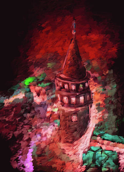 Istanbul Painting - Painting 765 3 Galata Tower by Mawra Tahreem